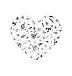 space object in heart shape magic heart vector image