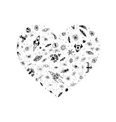 Space object in heart shape magic heart vector