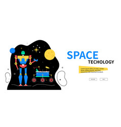 space technology - colorful flat design style web vector image