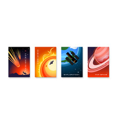 space vertical posters collection vector image