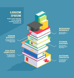 stack book infographic or pile school textbook vector image