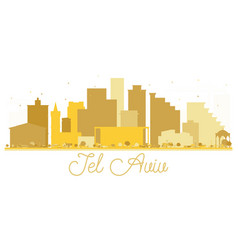 Tel aviv israel city skyline golden silhouette vector