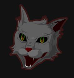 The head of an evil demonic cat with an evil grin vector