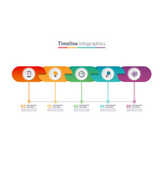 timeline infographic template of rounded elements vector image