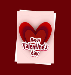 valentines day card with red background vector image