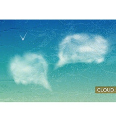 Vintage Sky background with Clouds speech bubbles vector