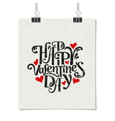 Vintage typographic Valentines Day design poster vector image