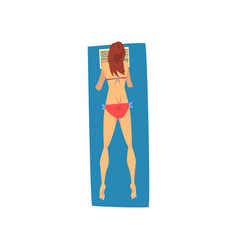 Young woman sunbathing on beach towel girl in vector