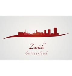 Zurich skyline in red vector