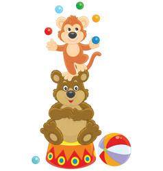 Circus monkey and bear vector
