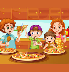 family having pizza in kitchen vector image vector image