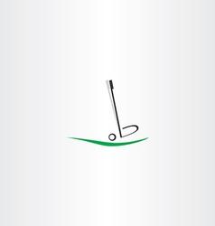 Golf ball logo putter icon vector
