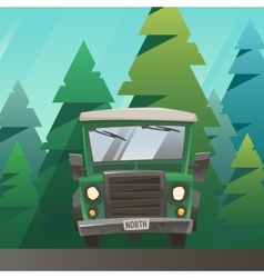 Green off road truck ride through the forest vector