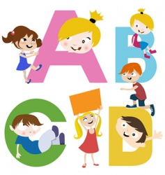 Kids with letters vector