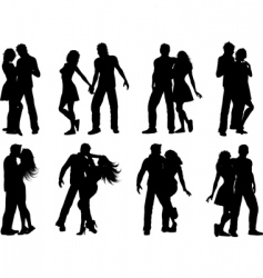 silhouettes of couples vector image vector image