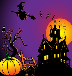 background with house by pumpkin and eagle owl vector image vector image