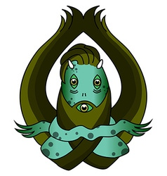 Scary green swamp monster vector image vector image