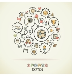 Sport hand drawing integrated sketch icons vector image vector image