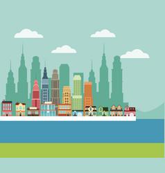 town building houses river cityscape design vector image