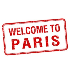 welcome to Paris red grunge square stamp vector image vector image