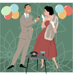 1950s party scene vector image vector image