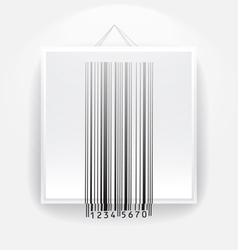 Blank frame on the wall with barcode vector image