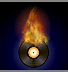 burning vinyl disc with fire flame vector image