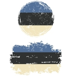 Estonian round and square grunge flags vector image