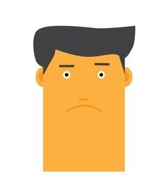 Flat face stylish angry man avatar vector image