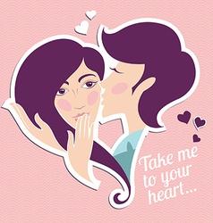 Kissing boy and girl Heart shape vector image