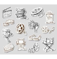 movie camera-hand drawn vector image