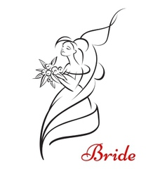 Beautiful bride holding flowers and smiling vector image