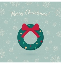 Christmas wreath garland on winter backdrop vector image