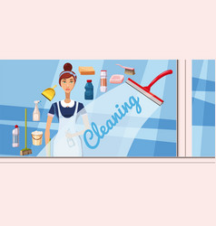 cleaning girl banner horizontal cartoon style vector image vector image