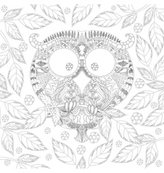 Coloring book page with zendoodle Owl in leaves vector image vector image