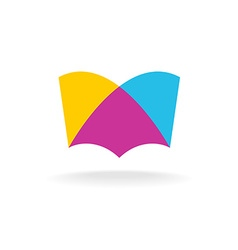 Open book logo Colorful overlay flat style vector image vector image