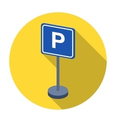 Parking sign icon in flat style isolated on white vector image vector image