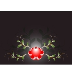 Pattern of beautiful red flower on a black base vector image vector image