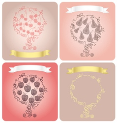 set of stylized fruit trees vector image