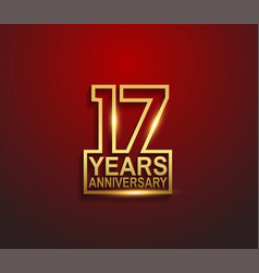 17 years golden anniversary line style isolated vector