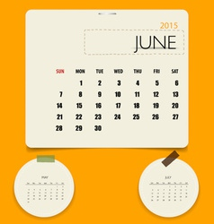 2015 calendar monthly calendar template for June vector