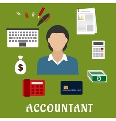 Accountant profession and objects flat icons vector