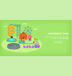 Amusement games horizontal banner cartoon style vector
