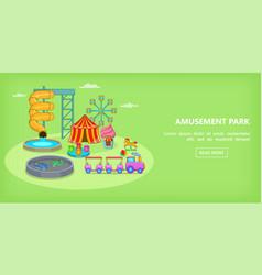 Amusement games horizontal banner cartoon style vector