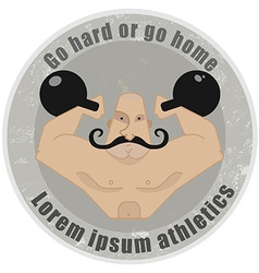 Athletic emblem with mustached strongman holding vector