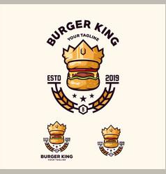 Awesome burger king logo design vector