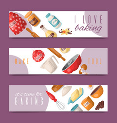 baking tools set of banners i vector image