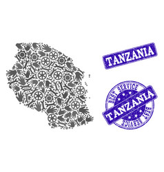 Best service collage of map of tanzania and vector