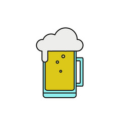 big glass beer thin line icon vector image