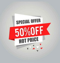 big sale tags with sale 50 percent text on square vector image